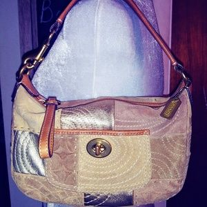 Coach Carly Tan and Gold Patchwork Hobo